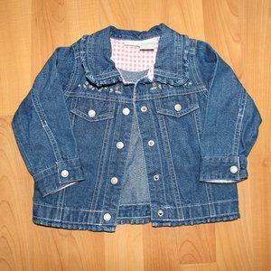 Cherokee Girls 12 M Denim Jacket Ruffled Collar